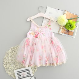 Wholesale Baby Dress Tutu Blue - 2017 New Collectiion Baby Girls Cute Floral Tutu Sundress Ruffles Lace Embroidery Candy Color Dress