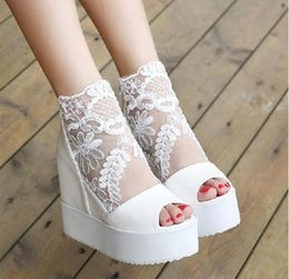 Wholesale Sexy Platform Wedding Sandals - Sexy wedge sandal silver white lace wedding boots high platform peep toe ankle boots Size 4-8