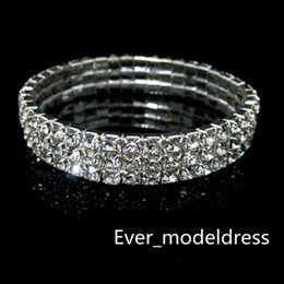 Wholesale Cheap Rhinestone Bridal Jewelry - Sliver 3 Row Rhinestone Bangle Wedding Bracelets Bridal Jewelry Cheap Bracelet for Wedding Party Evening Prom Dress hot sale low price