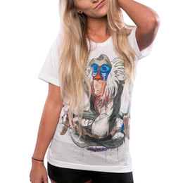 Wholesale Cheap T Shirt Wholesale - Wholesale-Cheap High Quality Summer Women Casual T-Shirt Short Sleeve Slim Lion King Rafiki Print T shirts Camiseta