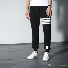 Wholesale Crop Harem - Wholesale- new exclusive distribution THOM BROWN classic red and blue striped webbing folding tooling twill trousers Cropped Pants