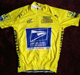 Wholesale United States Cycling - 2018 United States postal yellow cycling Jersey breathable cycling jerseys Short sleeve summer quick dry cloth MTB Ropa Ciclismo B34