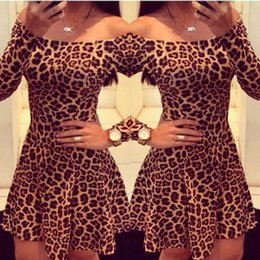 Wholesale New Strapless Dresses - Sexy leopard dress 2017 new women's clothing bodycon pencil slash-neck long-sleeved knee-length pleated night-club strapless dress