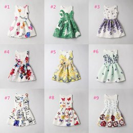Wholesale Little Girls Formal Dresses Wholesale - Girls Elegant Dresses for Party or Formal Occasion Little Girls Sleeveless A-line Sheath Dress Printed 11 colors and designs