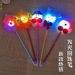 Wholesale Christmas Ball Pens - Luminous Christmas ball point pen LED with light pen gift gift for children's creative Christmas gift