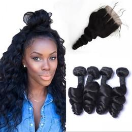 Wholesale Brazilian Loose Wave Closure - Brazilian Virgin Hair Middle Free 3 Part Loose Wave Lace Closure with 4 Human Hair Bundles FDSHINE HAIR