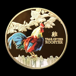 Wholesale Zodiac Coins - 5 pcs The brand new Rooster 2017 animal zodiac sign 1 OZ 24k Pure Gold Plated souvenir coin badge