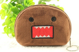 Wholesale Domo Kun Plush Bag - Wholesale- Kawaii Japan Domo KUN Half Round 11CM Plush Coin Pouch Wallet Purse Lady Girl's Storage Pendant Gift BAG Pouch Handbag Case