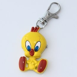 Wholesale Crystal Pocket Watches - Wholesale- Brand New Fashion Crystal Tweety Bird Pocket Pendant Key Ring Chain Quartz Dress Watch + Gift Bag GL04K