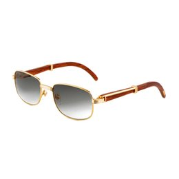 Wholesale Round Sun - Vintage Luxury Sunglasses Metal Gold Frames Mens Retro Sunglasses Wooden Frame Driving Brand Designer Sun Glasses with Box CT738SG