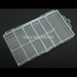 Wholesale Manicure Storage Cases - Wholesale- 10 Cells Storage Case Container Organizer Empty Box For 100pcs False Tips Glitter Rhinestone Tools Plastic Nail Art Manicure Pro