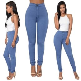 Wholesale Tight Jeans Thin - Wholesale- Women Sexy Solid Pants Female High Wasit Skinny Thin Pencil Pants Candy Color Stretchy Tight Jeans Denim Pants YF233