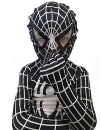 Wholesale Lycra Jumpsuit Costume - New High Quality Lycra Spandex Black Spiderman Costume Kids Adult Child Venom Spider-Man Cosplay Zentai Suit Halloween Jumpsuit