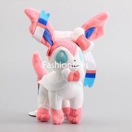Wholesale Soft Quality Doll - High Quality Poke XY Sylveon Fairy Plush Doll Soft Stuffed Animal Toy Pikachu Series 9'' Figure Kids Xmas Collectible Gift
