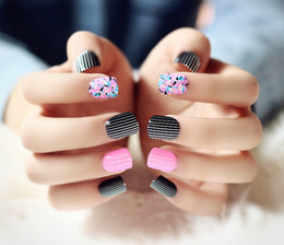 Wholesale Red French Acrylic Tips - Wholesale- High quality ros red with black stripped pattern fake nails Japanese pure color false nails set french short size full nail tips
