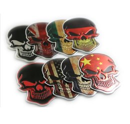 Wholesale Uk Decals Stickers - Italy France Germany USA UK China Flag Skull Badge Scary Car-Styling Decal Reflective printing green car stickers aluminum