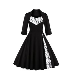 Wholesale Long Sleeve Floral Maxi - 2017 Plus Size S-5XL Audrey Hepburn Vintage Style Casual Dresses European Fall Winter Long Sleeves Black Women Clothing FS0955