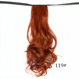 Wholesale Charm Ponytail - Wholesale-Charming 20'' Fake Hair Curly Wave Drawstring Ribbon Ponytails Pony Tails Horse Tress Hair Extensions Red Black Free Shipping