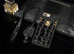 Wholesale Iphone Crocodile Leather Luxury - ForIPhoneX 8PlusCrocodileGrainLuxuryLeatherCasesForIPhone6s7PlusShockProofCellphoneProtectiveCoverWithRope