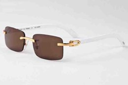 Wholesale Bamboo Yellow - New arrival 2017 brand sunglasses for men women white buffalo horn glasses rimless designer wood bamboo sunglasses with box case lunettes