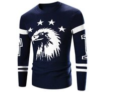 Wholesale Western Knitted Style Sweaters - Wholesale- men sweater western style thick sweater Eagle embroidery design men sweaters hot sale