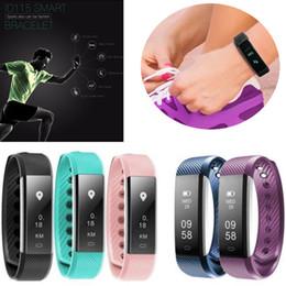 Wholesale Genuine English - Universal Best Top Selling Genuine New ID115 Bluetooth Smart Bracelet Sport Pedometer Fitness Band Tracker Sleep Monitor Wearable Wristband