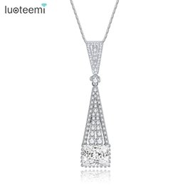Wholesale Necklace Collar Fashion Design - LUOTEEMI New Elegant Design Fashion Chain Collar Geometry Double Triangle and Square Pendant Statement Jewelry for Women Party