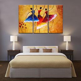 3 Panles Peinture Abstraite Danse Espagnole Peinture Sur Toile Mur Art Peinture Pour La Maison Moderne Décoration avec En Bois Encadré ? partir de fabricateur
