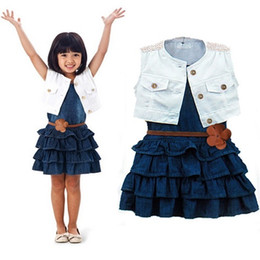 Wholesale Girls Denim Dress Winter - Girls Jeans Dress Vest Jacket Clothing Sets Sleeveless Denim Sleeveless Layered Dresses Waistcoats Belt 3PCS Outfits Kids Clothes Suits