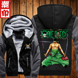Wholesale Jacket Hoodie Anime Character - Wholesale-New ONE PIECE Hoodies Anime Monkey D Luffy Hooded Winter cotton Coats Jackets Men Cardigan Sweatshirts