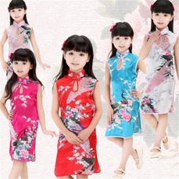 Wholesale Traditional Chinese Clothing Babies - Baby Girl Dress Chinese Clothing Traditional Kids Peacock Dress Summer Children Silk China Qipao Baby Girls Clothes