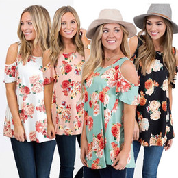 Wholesale T Shirt Printing Ladies - Casual Slim Summer Ladies Loose Flower Floral Print Short Sleeved Open Cold Shoulder Crew Neck Jumper Tops O-Neck Blouse T-Shirt Shirt Tee
