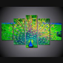 Картины павлина онлайн-5 панель без рамы красивый хвост Павлин группы картины на холсте HD печатных современного искусства животных картина для спальни украшения дома стены