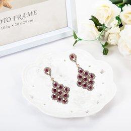 Wholesale Red Bridal Jewellery - 1pcs Top Quality Bordeaux Red Crystal Earrings Bridesmaids Jewellery Vintage Bridal Chandelier Wedding Dangle Earings Brinco