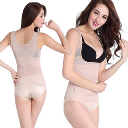 Wholesale Female Weight Loss - Hot Sale Ladies Body sculpting clothing fat burning abdomen postpartum seamless underwear vest female Short Sleeve Top Weight Loss Slimming
