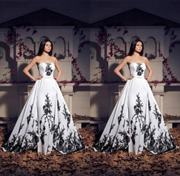 Wholesale Strapless Long Satin Bandage Gown - Vintage White And Black Lace Formal Evening Dresses 2017 Strapless Plus Size Floor Long Gorgeous Church Bridal Party Gowns Prom Event Wears