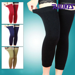 Wholesale Knee Padded Tights - Wholesale- AOLIKES 1 Pair Cashmere Double Layer Keep Warm Knee Support Sleeve Leg Warmer Women's Tights Collant Femme Yoga Yoelheira Brace