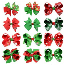 Wholesale Halloween Hair Bow Ribbon - Baby Girls Boutique Grosgrain Ribbon Colorful Hair Bow Clip Christmas Halloween Gift Snowflake Bow Hair Clip