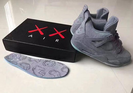 Wholesale Mens Glow Dark Shoes - KAWS Air Retro 4 Cool Grey Glow In the Dark Mens Basketball Shoes Sneaker Limited Edition 4s Grey Suede Sports Shoes With Box