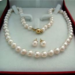 mixed akoya pearls Canada - Charming 8-9MM White Akoya Pearl Necklace Earring Set AA 012