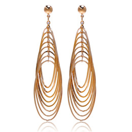Wholesale Large Loop Earrings - Luxury Gold Color Multi Loops Oval Circles Oversize Big Large Long Drop Earrings for Womens Jewelry boucle d'oreille femme Aros
