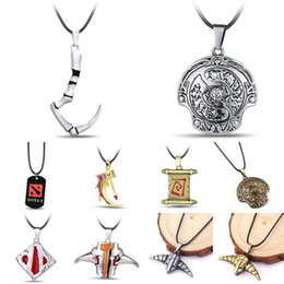 Wholesale Necklace For Men S - top games dota2 People Character Weapon Model Necklace Men 's Fashion Alloy Leather Pendant The best gift for game accessories