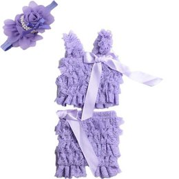 Wholesale Wholesale Lace Petti Romper Sale - Wholesale- Hot sale summer baby clothes Set petti lace romper + flower headband girl fashion infant toddler romper 2 pcs