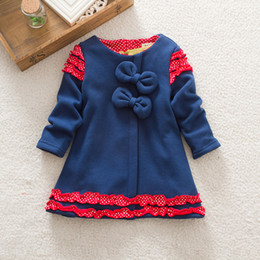 Wholesale Wholesale Clothes Online Kid - Fashion Winter Autumn Cotton Girls Dresses Kids Clothing Dress online shopping with bow and lace winter girl t shirt free shipping