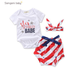 Wholesale America National - INS Europe and America new arrival Girl summer sleeveless cotton national flag printed romper +shorts+Headdress sets girl cute sets