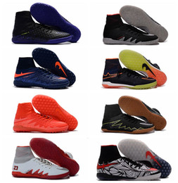 Wholesale Blackout Soccer Cleats - 2017 New arrival mens indoor soccer shoes original soccer cleats hypervenom phantom jr IC TF neymar boots turf football boots Blackout Blue