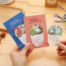 Wholesale Writing Pads Wholesale - Wholesale- 1PC Lot New Vintage Sweet Flower Pot series Memo Sticky note Writing scratch pad office school stationery supplies