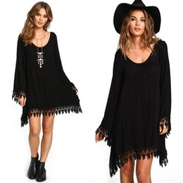 Wholesale Tunic Sale Women - Summer Women Boho Tassel Dress Short Vestido Sexy Lace Crochet Chiffon Tunic Hollow Black Beach Shirt Dress Blusa Hot Sale
