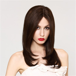 Wholesale Light Brown Wig Closures - silk base closure wig Full Lace Human Hair Wig Senior silk Long Wavy Full Lace Wigs Brazilian Virgin Hair 100% With Bangs For women Color 6#