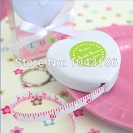 Wholesale Tape Measuring Favor - Baby shower favor gift for guests -Heart Measuring Tape Key Ring Favor Wedding Favours Birthday Party Gifts giveaways 100pcs lot